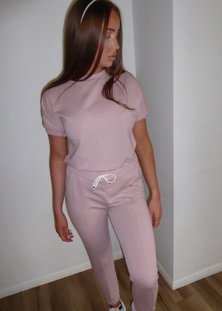 Baby Pink Puff Sleeve Lounge Set