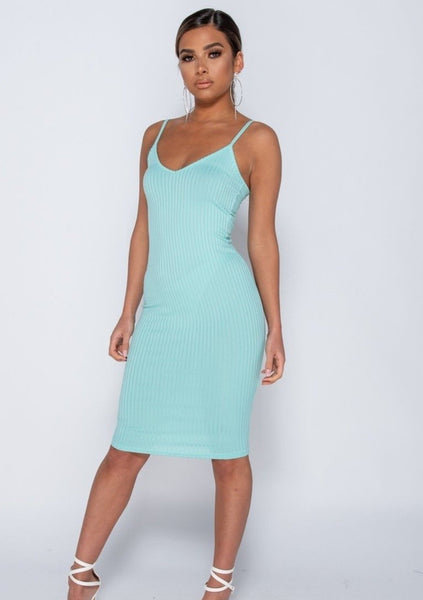 PRE- ORDER Aqua Ribbed Midi Dress