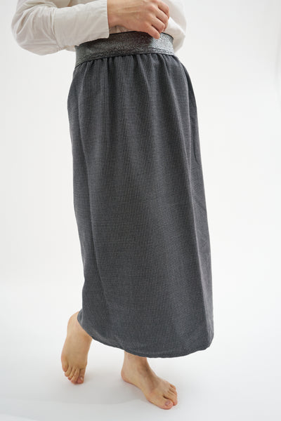 Maxi skirt with elasticated waistband  - Tweed