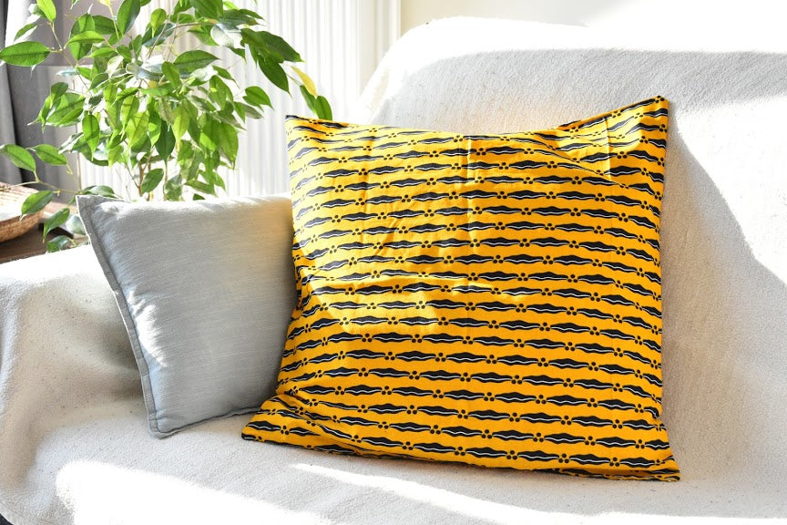Cotton pillowcase - African wax - Yellow