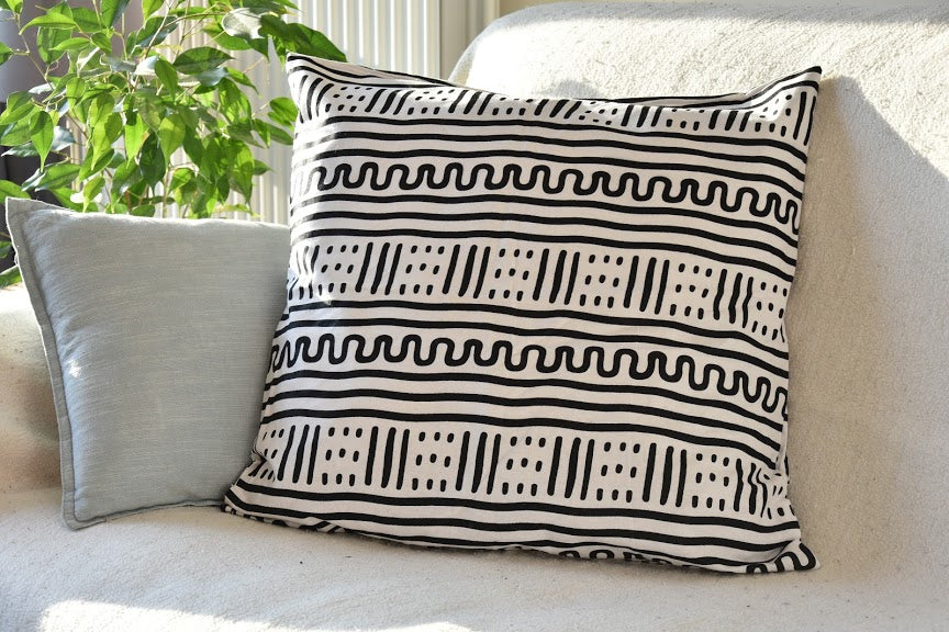 Adinkra pattern cotton pillowcase - White