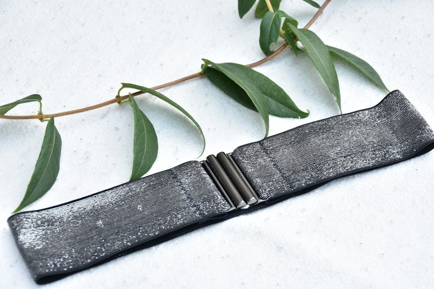 Elastic belt - Metallic silver