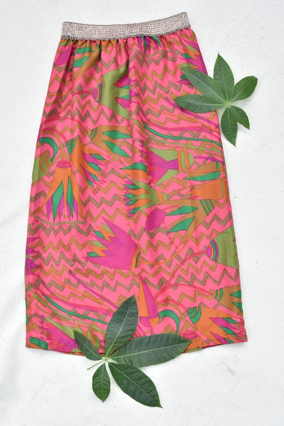 Midi skirt with elasticated waistband  - Vintage fabric