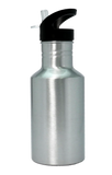 Water Bottle 600ml Ø8.0cm with Straw, White / Silver