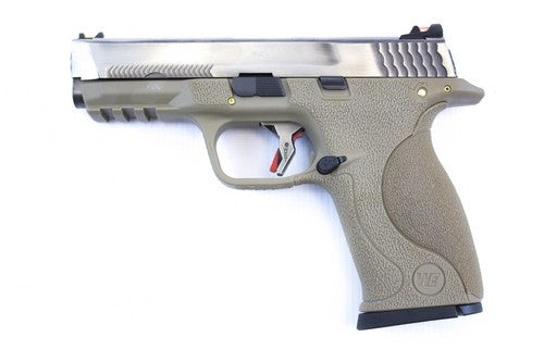 WE E Force Big Bird FDE Silver Slide and Silver Barrel - Airsoft Imports