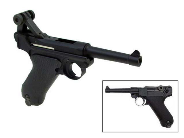 WE Luger P08 4-Inch GBB Pistol - Black - Airsoft Imports