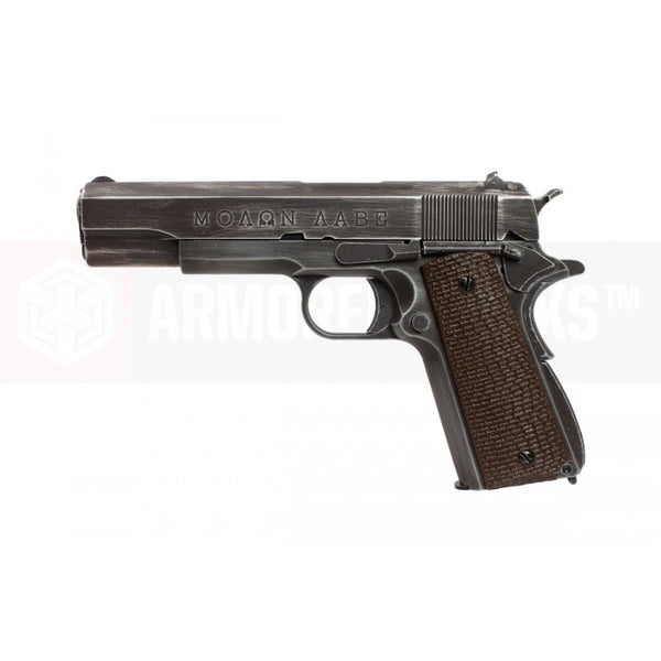 "Armorer Works Custom ""Molon Labe"" 1911 Gas Blowback Pistol (Full Metal - Brown Grips) - Airsoft Imports"
