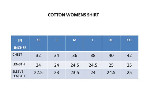 Size Chart- TeeMoods Full Sleeves Cotton Womens Shirt