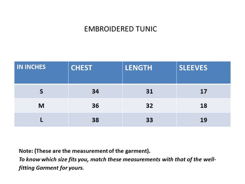 Size Chart Embroidered Tunic