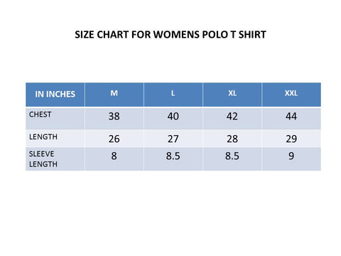 Size Chart Women's Polo Shirts