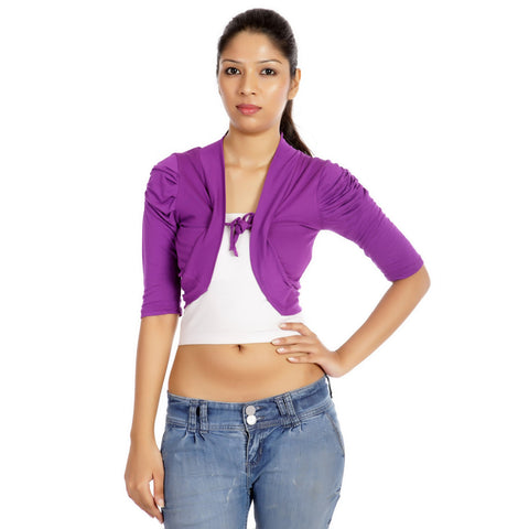 TeeMoods Stylish Purple Short Shrug-Front
