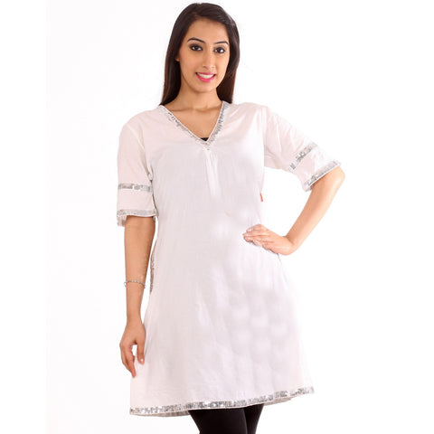 Silver Sequined White KURTI