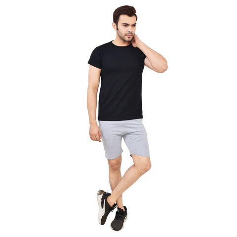 TeeMoods Mens Cotton Solid Black Round Neck T shirt-life style image