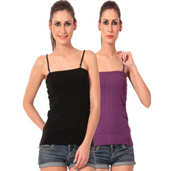 Pack of Purple n Black Camisoles, Spaghetti Strap Tank Top