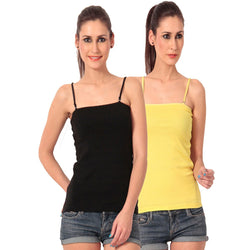 TeeMoods pack of Black n Yellow Camisole Spaghettis