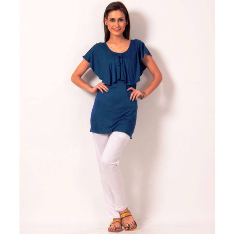 TeeMoods Sleeveless Solid Royal Blue Long Top