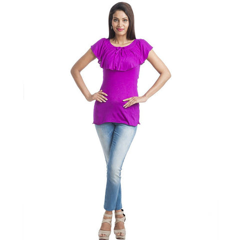TeeMoods Sleeveless Solid Purple Long Top