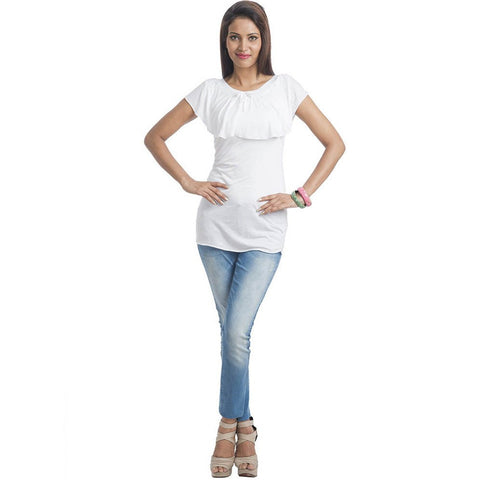 TeeMoods Sleeveless Solid White Long Top