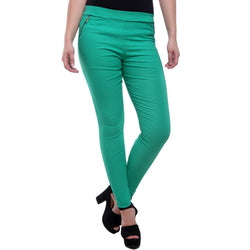 Cool Green Jeggings with Zippered Pockets