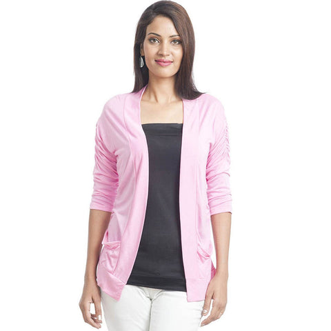 Sleek Pink Shrug with 3/4th Sleeves - Front