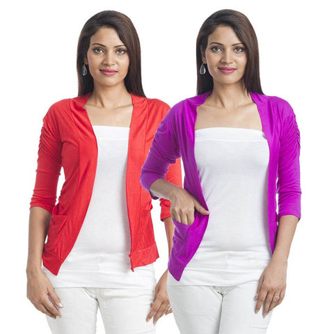 TeeMoods Set of Two Shrugs-Red & Purple with 3/4th Sleeves