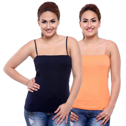Pack of Navy & Skin colored Camisoles, Spaghetti Strap Tank Tops
