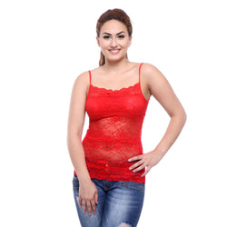 TeeMoods Basic Spaghetti Strap Sheer Red Lace Camisole