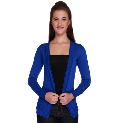 TeeMoods Elegant Royal Blue Lace Shrug-Front