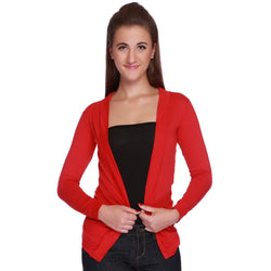 TeeMooods Elegant Lace Red Shrug-Front