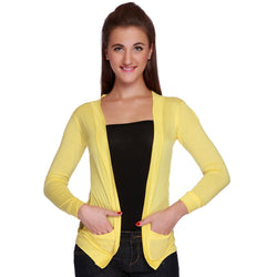 TeeMoods Elegant Yellow Lace Shrug-Front