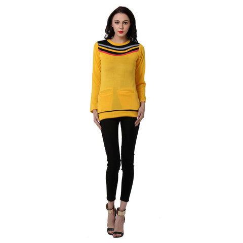TeeMoods Womens Yellow Long Sweater Top