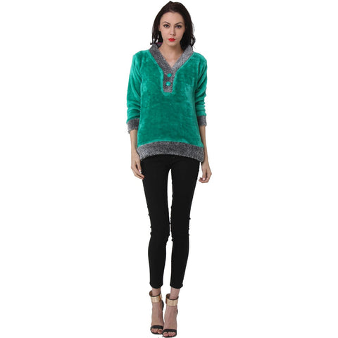 TeeMoods Womens Full Sleeves Green V neck Fur Top