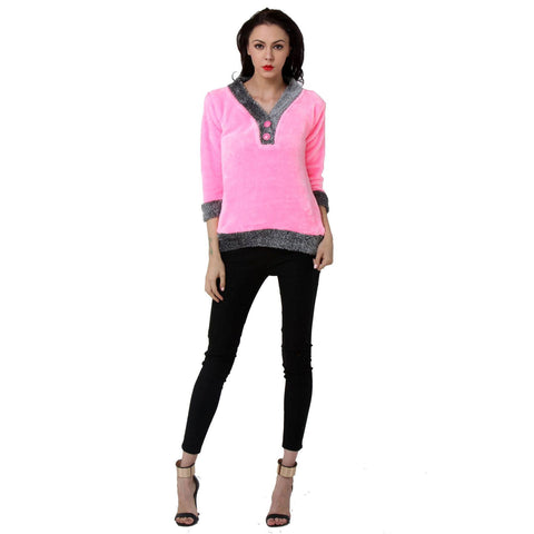 TeeMoods Womens Full Sleeves Pink V neck Fur Top