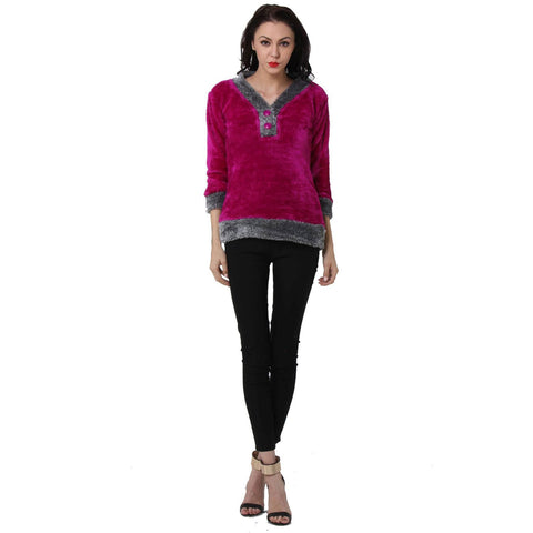 Womens Full Sleeves Purple V neck Fur Top