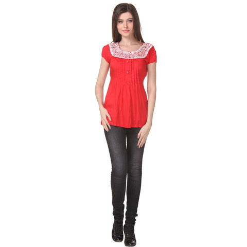 TeeMoods Womens Cotton Red Tunic Top