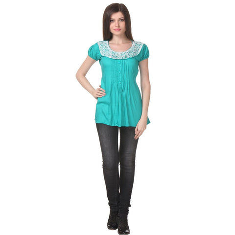 Womens Cotton Sea Green Tunic Top