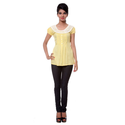 TeeMoods Womens Cotton Yellow Tunic Top