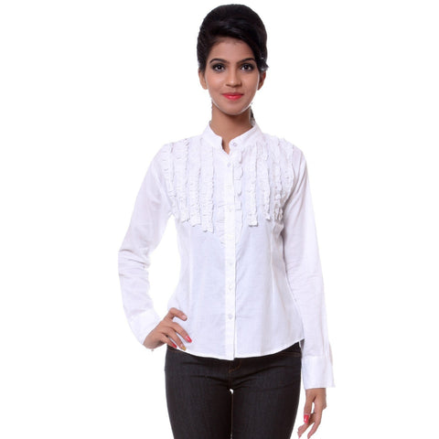 TeeMoods Fancy White Cotton Womens Shirt-Front
