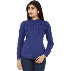 TeeMoods Fancy Blue Cotton Womens Shirt-Front