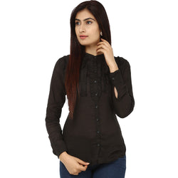 TeeMoods Fancy Black Cotton Womens Shirt-Front