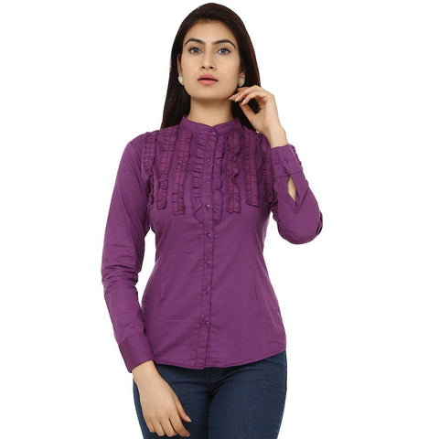 TeeMoods Fancy Purple Cotton Womens Shirt-Front
