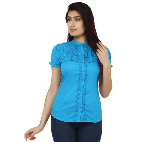 TeeMoods Solid Turquoise Cotton Womens Shirt with Frills-Front