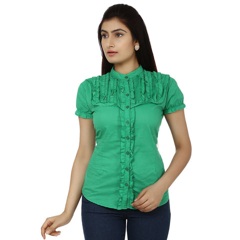 TeeMoods Solid Green Cotton Womens Shirt with Frills-Front