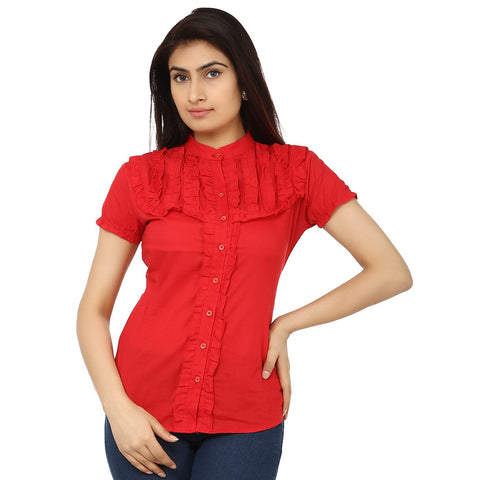 TeeMoods Solid Red Cotton Womens Shirt with Frills-Front