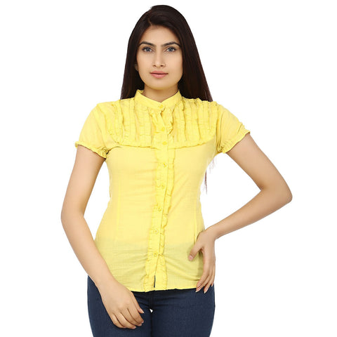 TeeMoods Solid Yellow Cotton Womens Shirt with Frills-Front