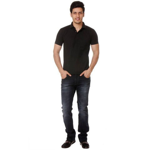 TeeMoods Solid Black Mens Polo Tee