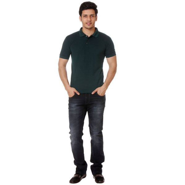 TeeMoods Solid Dark Green Mens POLO Tshirt