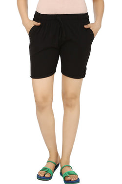 TeeMoods Solid Black Women's Shorts