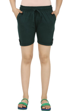 TeeMoods Solid Dark Green Women's Shorts