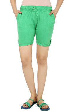 Teemoods Solid Green Women's Shorts